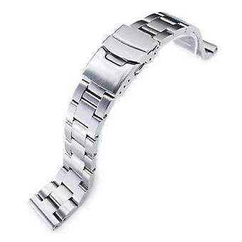 Strapcode watch bracelet 20mm super oyster 316l stainless steel watch bracelet straight end, brushed