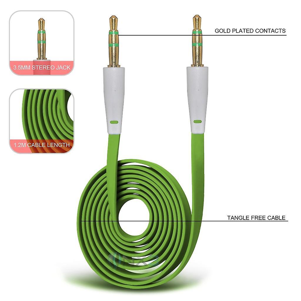 Huawei Honor Holly 2 Plus oro placcato Jack a Jack da 3,5 mm cavo di collegamento ausiliario Aux Audio piatto (verde)