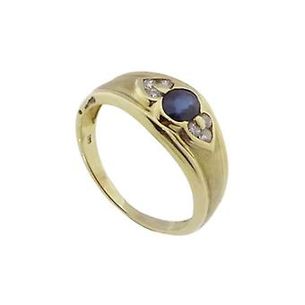 Christian gold ring with sapphire and Diamond
