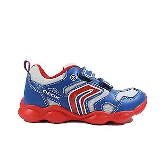 Geox Munfrey J024BC Royal Blue/Red Boys Rip Tape Light Up Trainers