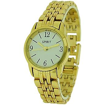 Spirit Ladies Analogue White Dial Goldtone  Metal Bracelet Strap Watch ASPL51