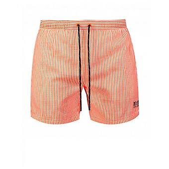 BOSS Velvet Fish Striped Swim Shorts