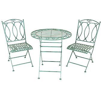 Charles Bentley rustikale Schmiede eisen Bistro Set leichte Garten im Freien, stark & robust in einem schönen Salbei grün