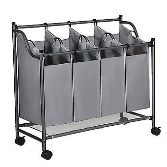 Koš na prádlo / třídič oblečení - 4 koše - šedá