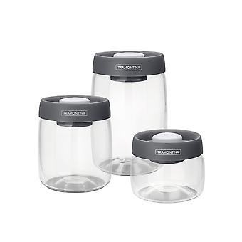 Tramontina Glass Container Set With Vacuum Plastic Lid