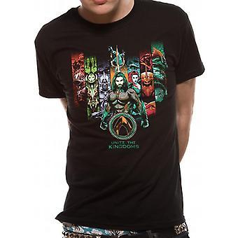 DC Comics unisex voksne Aquaman Movie forener kongeriger design T-shirt