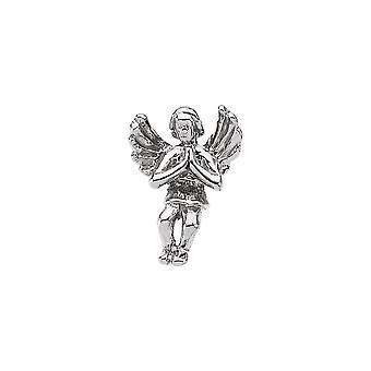 14k valkoinen kulta rukoilee uskonnollinen suojelus enkeli käänne pin 12x9mm korut lahjat miehille - 1,2 grammaa