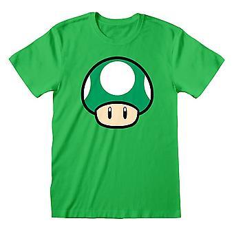 Män & apos; s Super Mario 1-UP Svamp Grön T-shirt