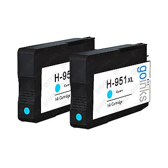 2 Cyan-kompatible HP 951C -printerblækpatroner (HP951XL)