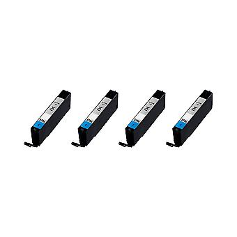 RudyTwos 4 X Ersatz für Canon CLI-571XL Tinte Unit Cyan kompatibel mit PIXMA MG5750, TS5050, MG5751, MG5752, MG5753, MG6850, MG6851, MG6852, MG6853, TS5051, TS5053, TS5055, TS6050, TS6051, TS6052,