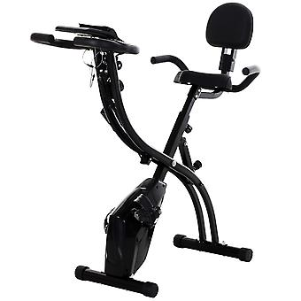 HOMCOM 2 in 1 Foldable Magnetic Resistance Exercise Bike Stationary Upright Magnetic Recumbent Cycling with Arm Resistance Bands