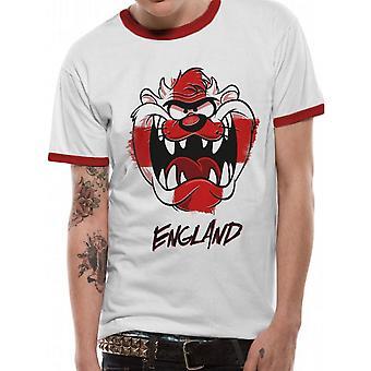 T-shirt Looney Tunes Unisex Adultes Angleterre Taz Ringer