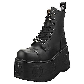 Nieuwe Rock Metallic M-newmili083-s28 Unisex Platform Boots in Black