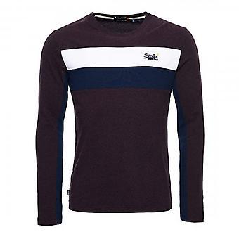 Superdry OL Engineered Stripe LS Blackberry Marl T-Shirt 3IJ