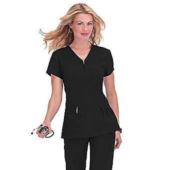 KOI Women's Stretch Mackenzie Figure-Flattering Zip-Front Scrub Top, Black, S...