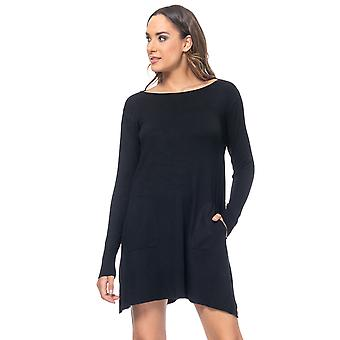 Knit wide dress with pockets and sides open