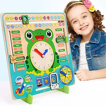 Montessori Jucării din lemn- Vreme Sezon Calendar Ceas Timp Cogniției Preșcolare