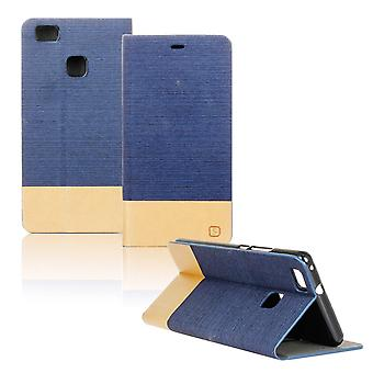 Mobilfordral Jeans for Huawei P9 Lite Mobile Protection Magnet Leatherette Phone Blue