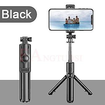 3 I 1 Trådløs Bluetooth Selfie Stick til Iphone Xr X Foldable Håndholdt Monopod Shutter Remote Extendable Mini Tripod (sort)