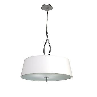 Inspired Mantra - Ninette - Cylindrical Ceiling Pendant 4 Light E27, Polished Chrome with Ivory White Shades