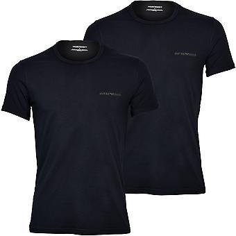Emporio Armani 2-Pack Logoband Crew-Neck T-Shirts, Black