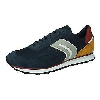 Geox U Vincit C miesten Mokka nahka ja nailon Tennarit/kengät-sininen