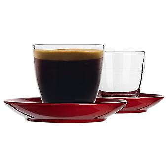 Duralex 12 Piece Gigogne Glass Coffee Cup and Ceramic Saucer Set - Modern Style Tumbler Mug for Latte Cappuccino - Red - 220ml