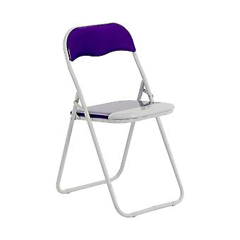 Sillas plegables acolchado cuero falso estudio de la silla de oficina de comedor púrpura blanco x1