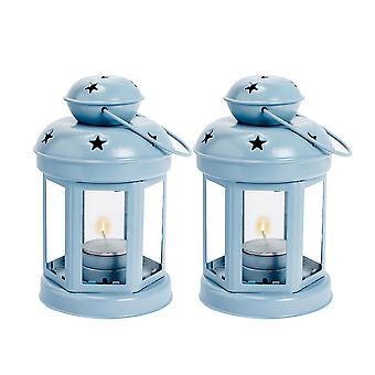 Nicola Spring Candle Lanterns Tealight Holders Metal Hanging Indoor Outdoor - 16cm - Blue - Set of 2
