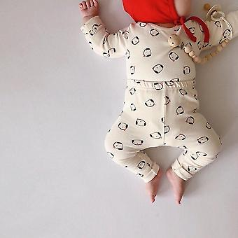 Cute Dog Printed, Cotton Round Neck, Sleep Sets Including Hat