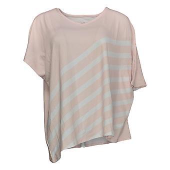 Elizabeth & Clarke Women's Top Striped Tunic W/ Asymmetric Hem Pink A353168