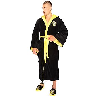 Harry Potter Dressing Gown Hufflepuff House Men's Black Bathrobe