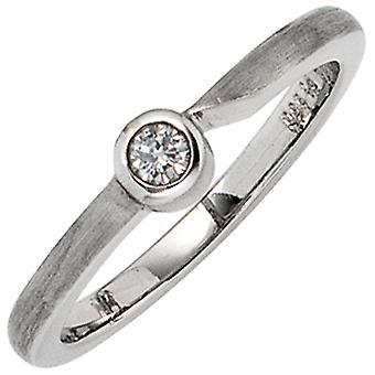 Dames Ring 950 Platinum Matt 1 Diamond Brilliant 0.08 ct. Platina ring