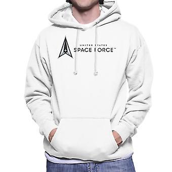 U.S. Space Force Dark Text Alongside Logo Men's Hooded Sweatshirt
