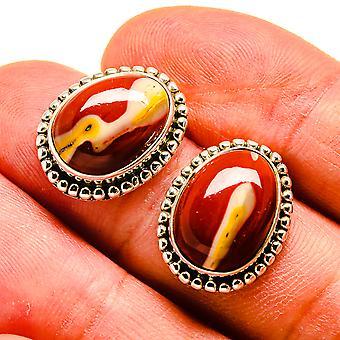 """Mookaite Earrings 3/4"""" (925 Sterling Silver)  - Handmade Boho Vintage Jewelry EARR408168"""