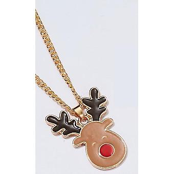 Beautiful fun necklace pure Christmas rudolf with red overcast