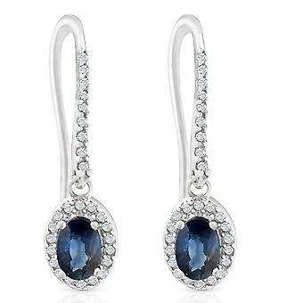 saphir ovale bleu 1 3 / 8ct & Halo cerceaux balancer levier arrière boucles d'oreilles diamant 18K