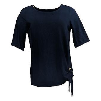Belle by Kim Gravel Women's Top Triple Luxe Grommet Side Tie Blue A289018