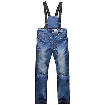 Old-style Suspenders Thickened Denim Pants Snowboard Windproof Pants