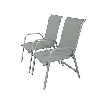Juego de 2 sillas para jardin textileno 'quot;Porto-- Phoenix - szary claro