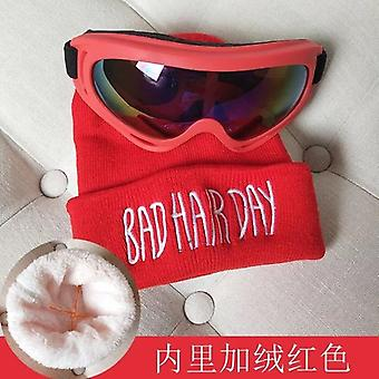 Winter's Woolen Hats With Colored Letters Velvet Warm Sunglasses Ear Protection