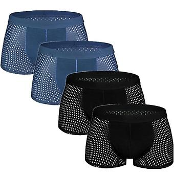 Man Mesh Sexy Homme Bamboo Ice Silk Underwear Boxers Underpants