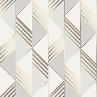 Lipsy Geometrisch Behang Grijs / Gold Muriva 144901