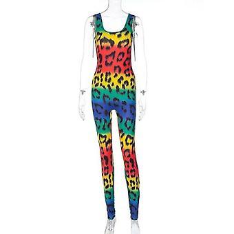 Leopard Print Rainbow Seksikäs Jumpsuit Kesä Naiset Muoti Streetwear