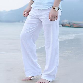 Cotton Linen Wide Leg Men's Long Pants, Loose Straight Trousers