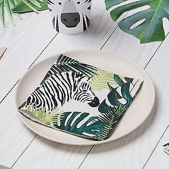 Tropical Palm Tree Zebra Jungle Paper Party Napkins x 20
