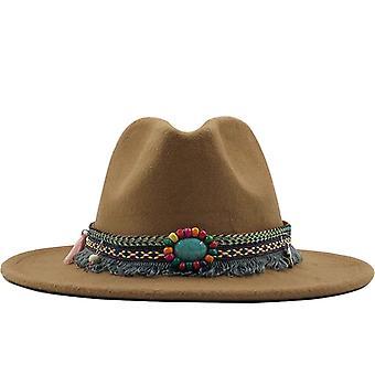 Új férfiak, nők, széles karimája, gyapjú filc Fedora Panama kalap övvel