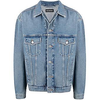Balenciaga 646922tdw154762 Herren's Blaue Baumwoll-Outerwear Jacke