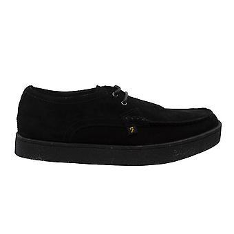 Farah Form Lo Black Suede Slip On Lace Up Mens Shoes FAR0009 006