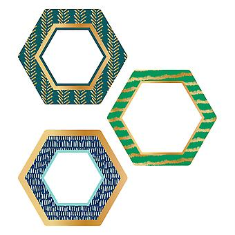 Un hexágono mundial con recortes de lámina de oro, 36 por paquete, 3 paquetes